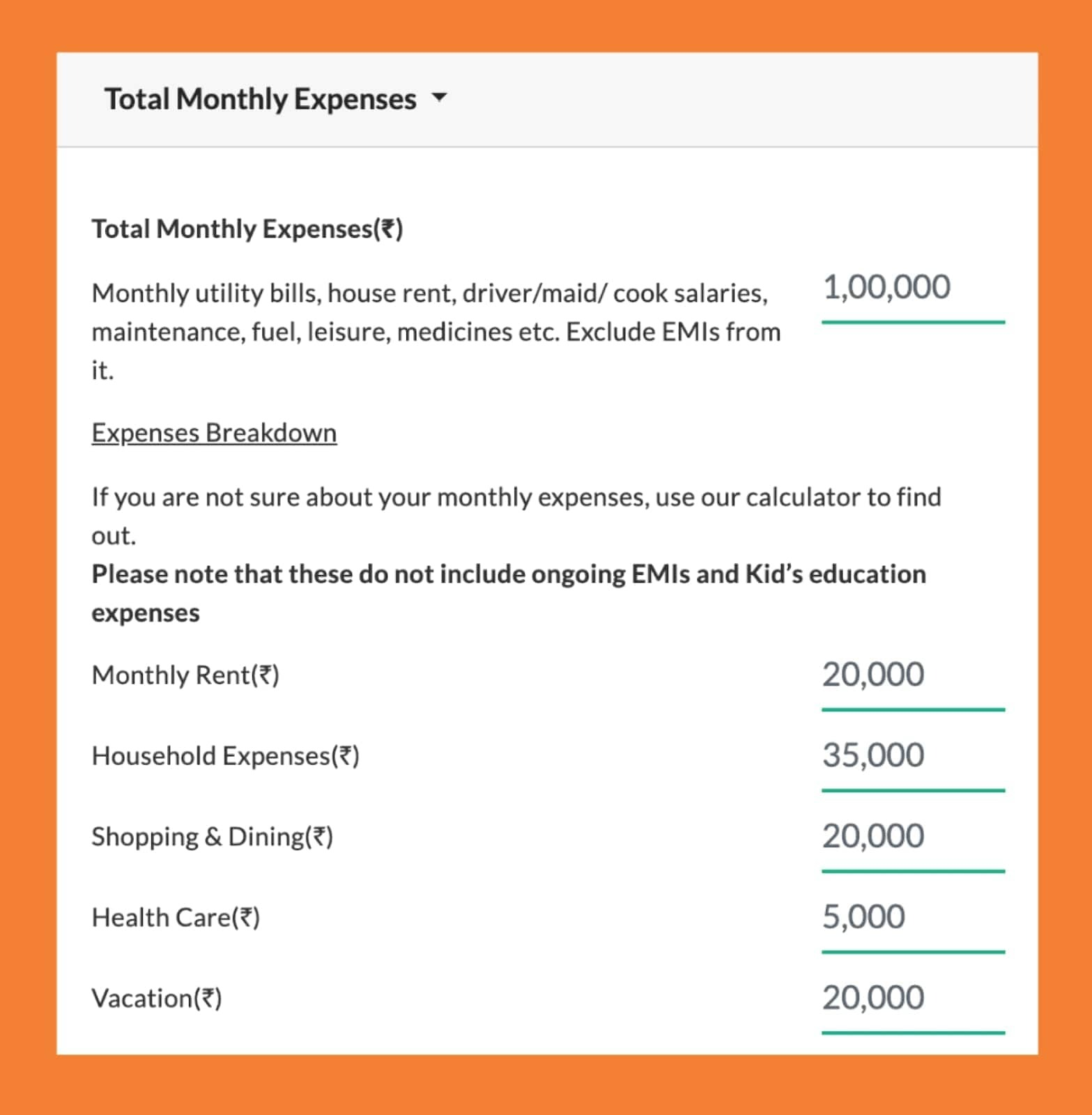 total monthly expenses
